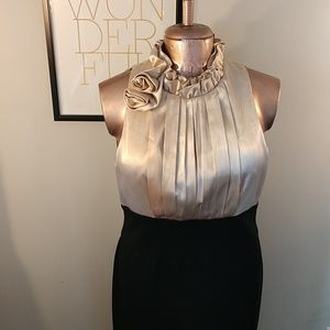 London Times Gold Pleated Cocktail Dress - Size 14